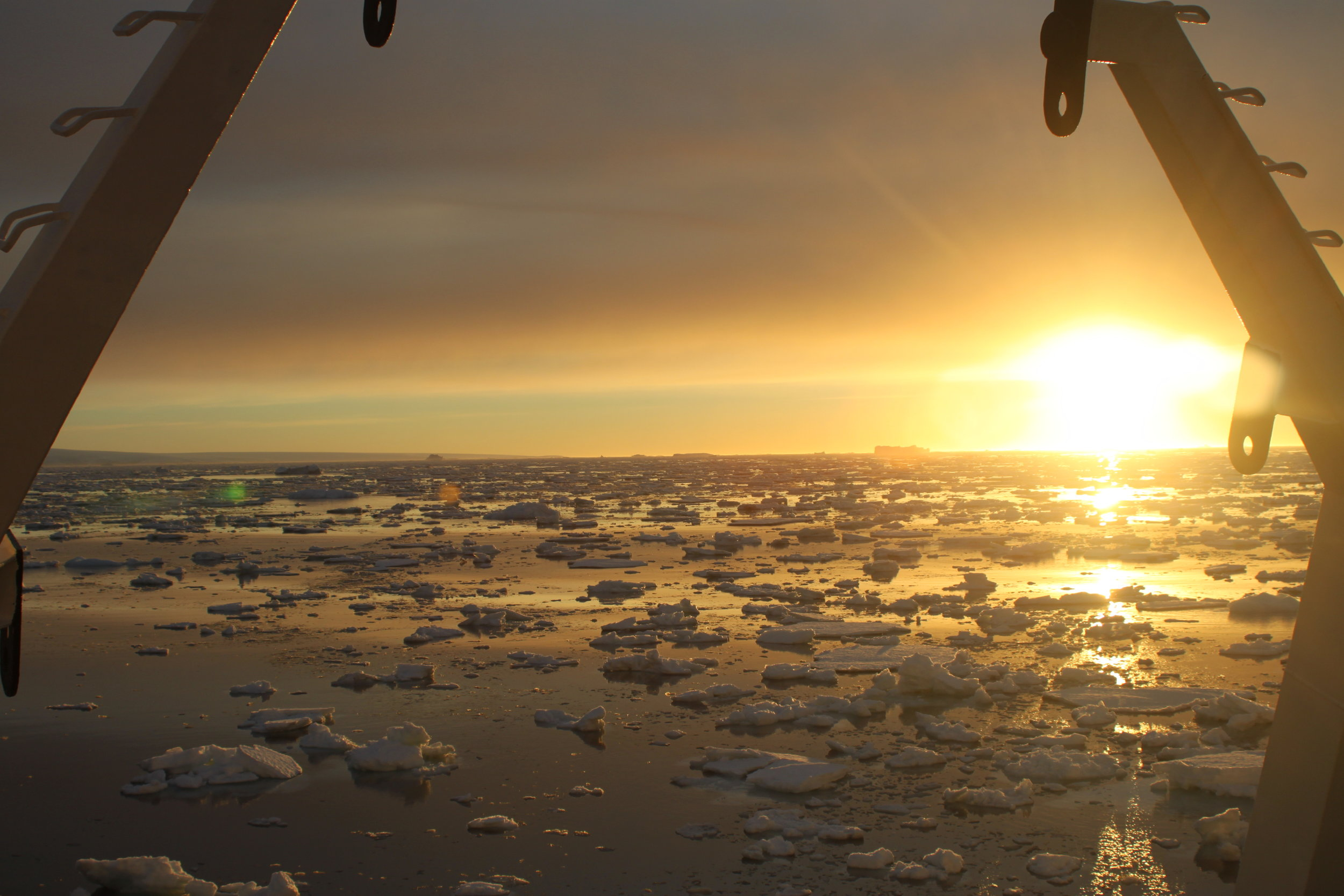 Somewhere just north of the Antarctic Circle, nearly midnight on New Year's Eve. December 31, 2013.