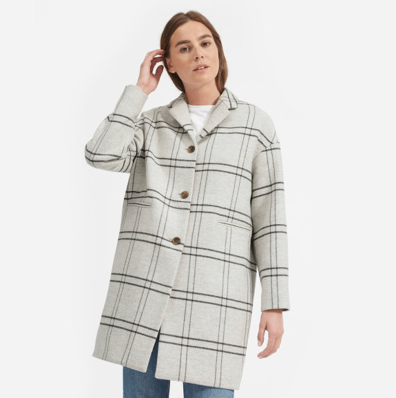 Everlane cocoon coat  in heather gray/charcoal plaid.