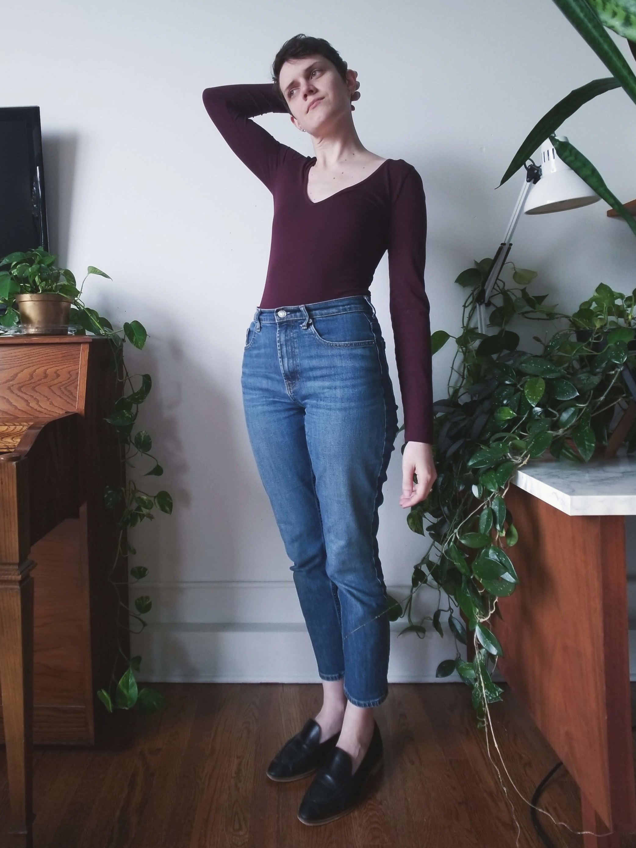 Everlane cheeky jeans  paired with a secondhand Madewell bodysuit and Everlane modern loafers.