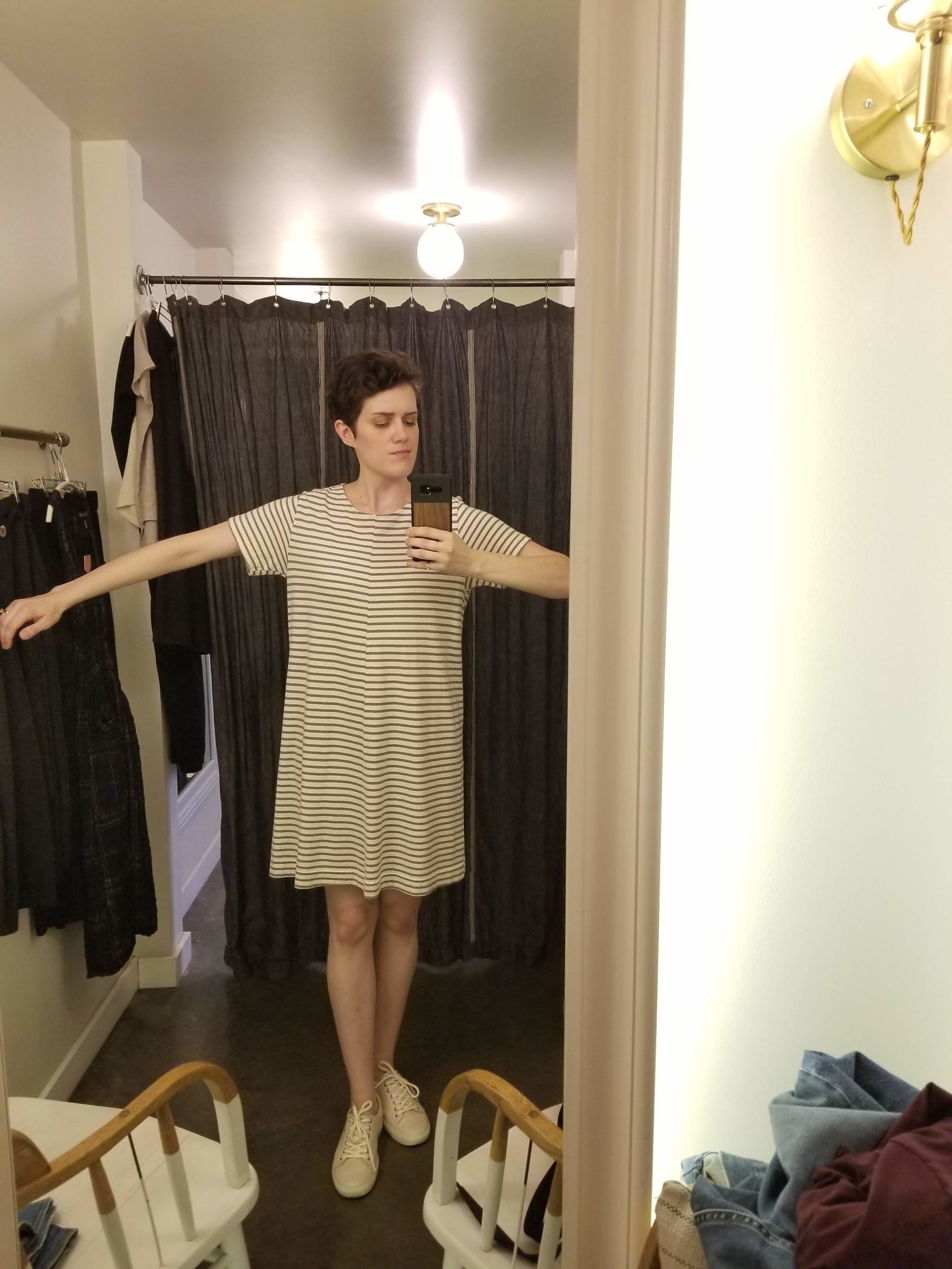 Tried on A LOT at Velouria, but this Jungmaven striped tee dress checked off an item from my wishlist — an easy, loose, office-appropriate everyday dress. Glad I know this brand now!
