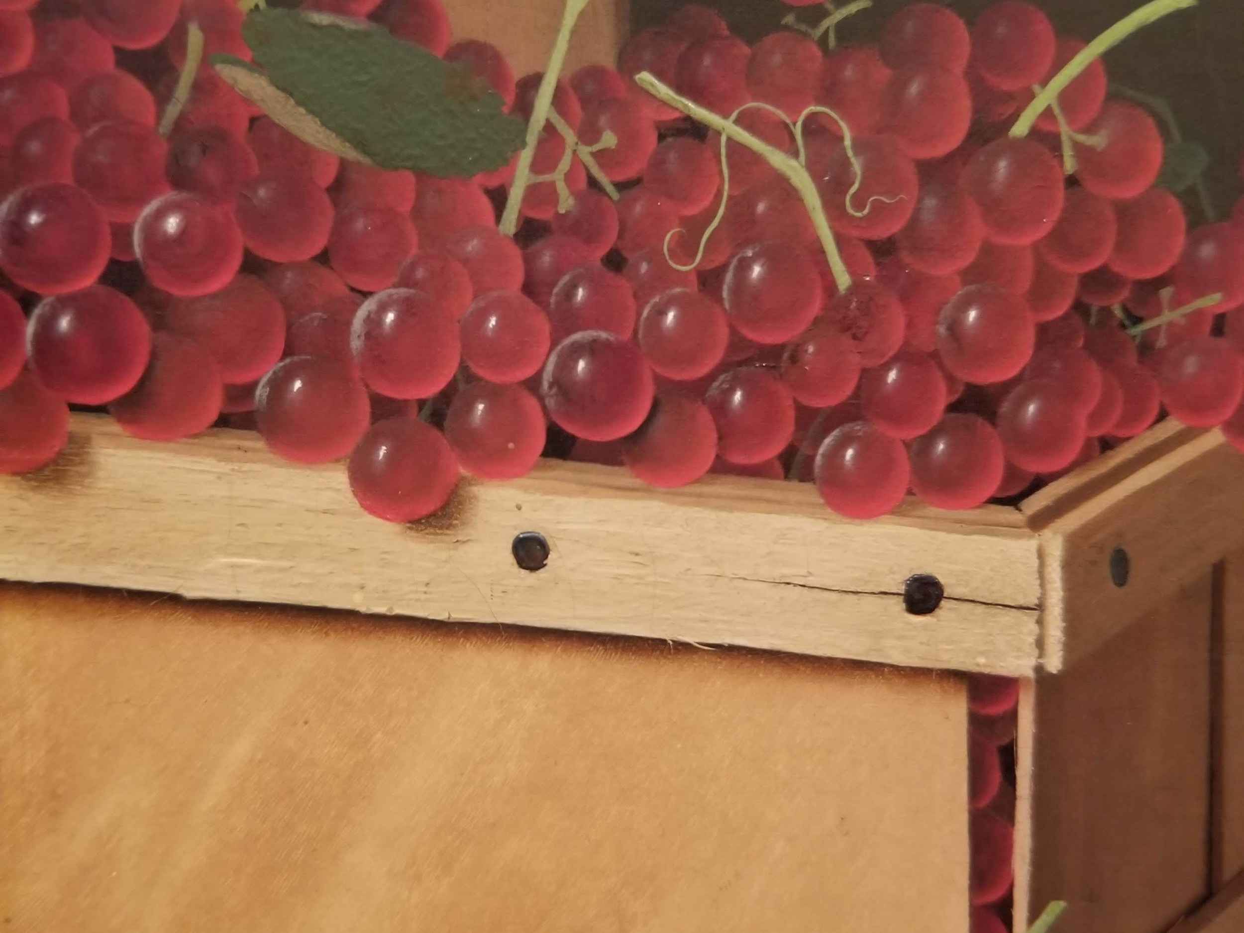 THESE PERFECT GRAPES. THIS LIFELIKE WOOD BOX. That's a painting!!!