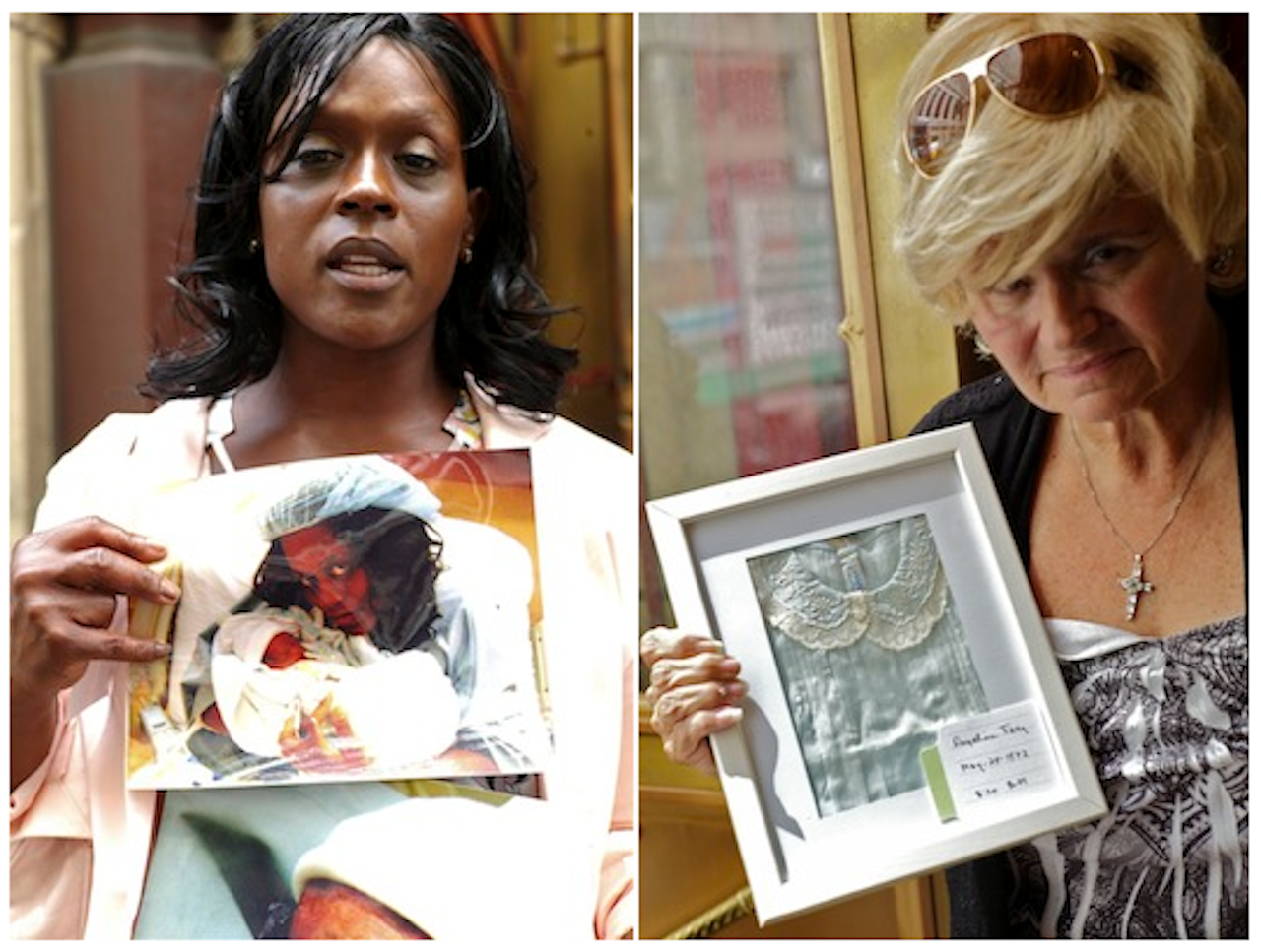 Left: Sharone Palmer with a photo of her granddaughter, Chloe Mckayla Bellevue Palmer; right: Jeanne Frey holds the dress of her sister, Angelina. Both were still-born and are believed to be buried on Hart Island  ©Claire Yaffa/Hart Island Project, 2012