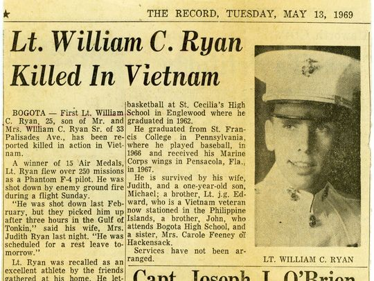 A newspaper clipping from Tuesday, May 13, 1969. Ryan's death was not officially confirmed until 2017.  Photo: NorthJersey.com