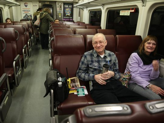 Steve Thorpe's lifelong romance with rail travel was kindled when he used to visit the original Penn Station in New York with his father. Denise has been along for the ride ever since the two met nearly 50 years ago.  Photo: Chris Pedota/NorthJersey.com