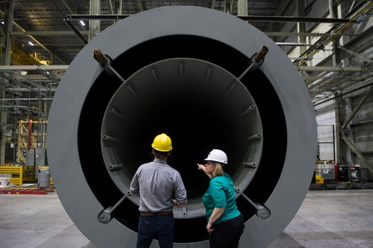 A steel and concrete cask made by Holtec International to contain nuclear waste.  Joe Lamberti/Courier Post-USA Today Network)