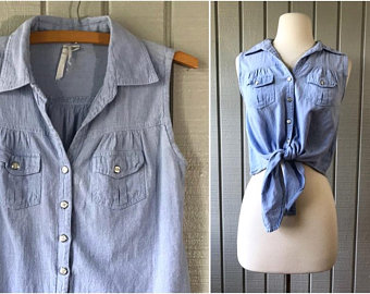80s Chambray Blouse | $35