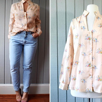 70s Floral Peach Blouse | $42