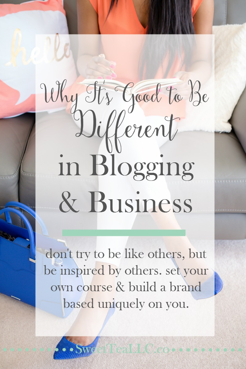 """Different"" is what makes you stand out in a sea of khaki. Own your unique story, be confident in your abilities, and lead the pack instead of following the herd. It's good to be different in blogging & business."