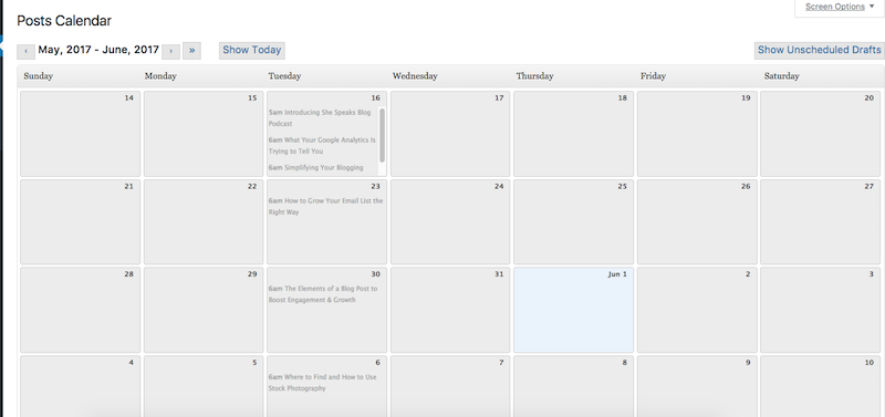 WP Editorial calendar is a super lightweight plugin for self-hosted Wordpress that shows your posts in a drag-and-drop calendar format, instead of a running list.