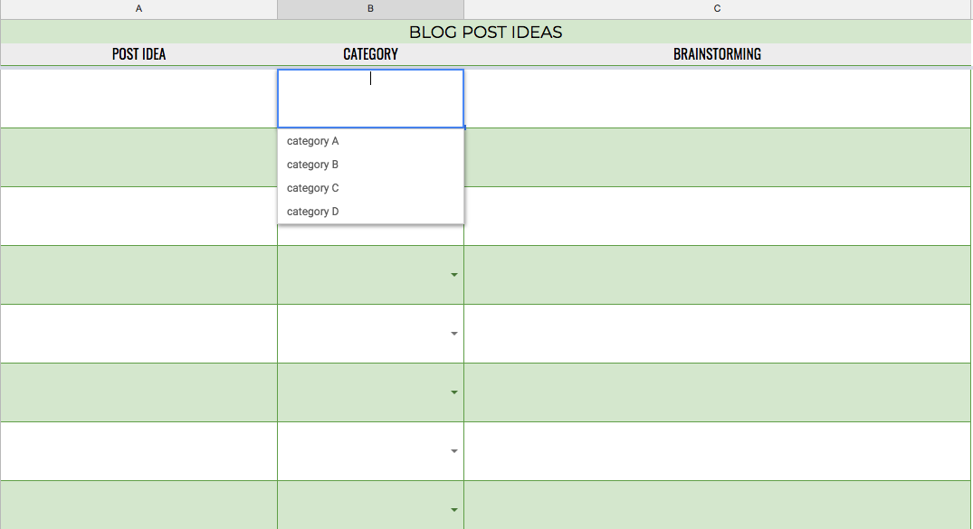 Keep a running list of content ideas and categorize them.