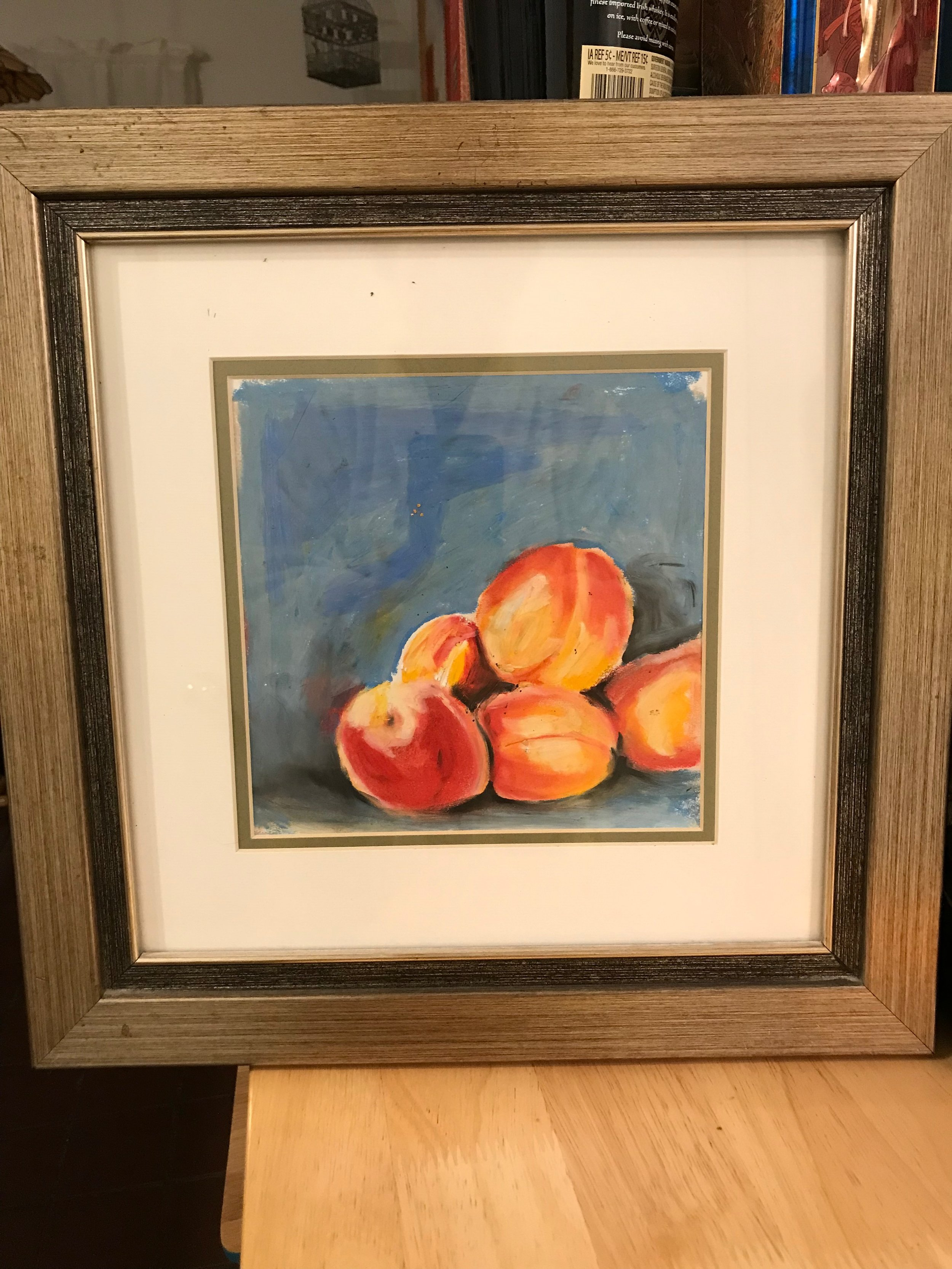 """""""Peaches"""" (pastel on paper, 10""""x10"""")I love this blue/orange combo. Hmmm, where will it pop up next?"""