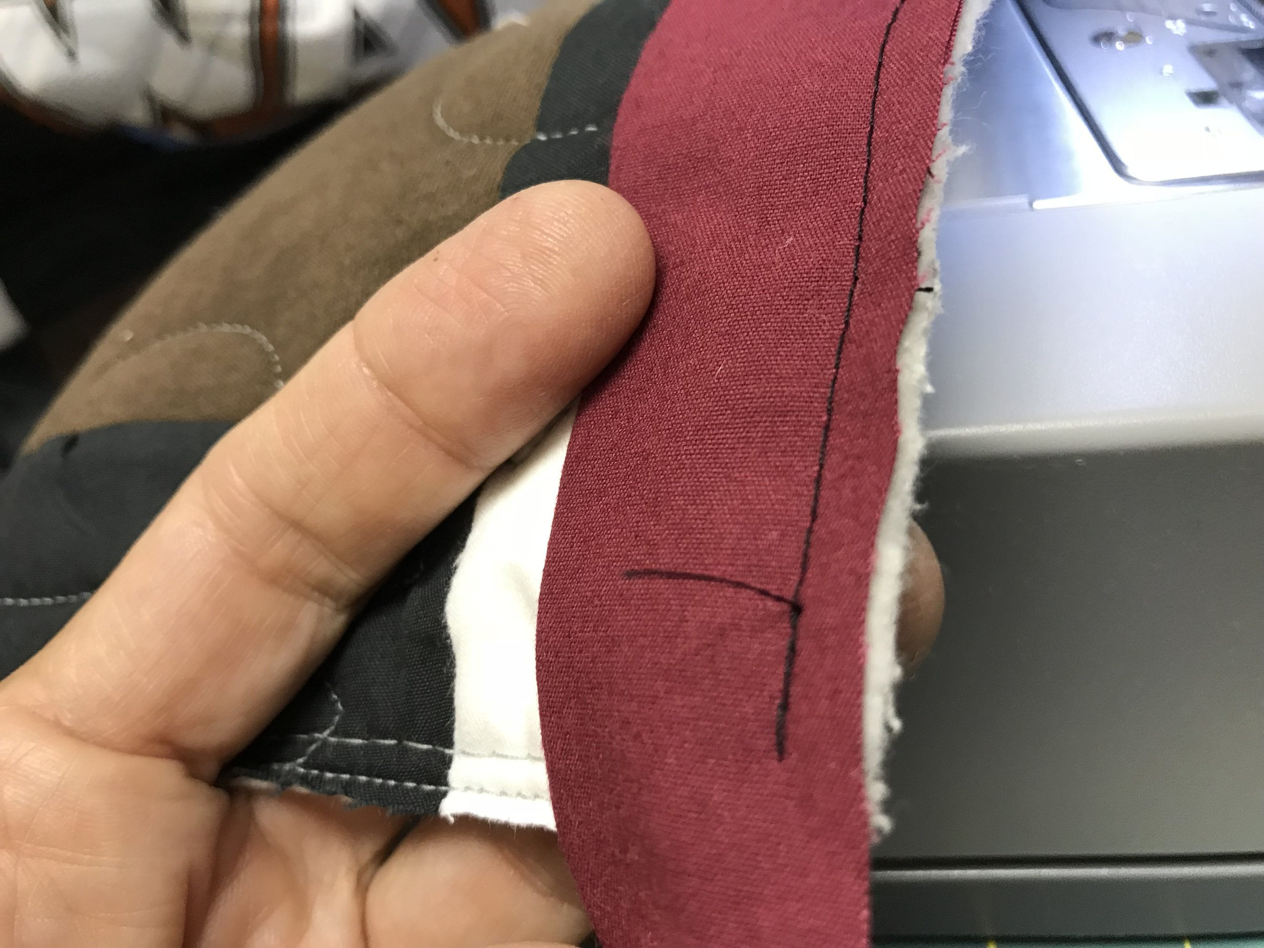 """Stop sewing .25"""" from a corner. Clip threads."""