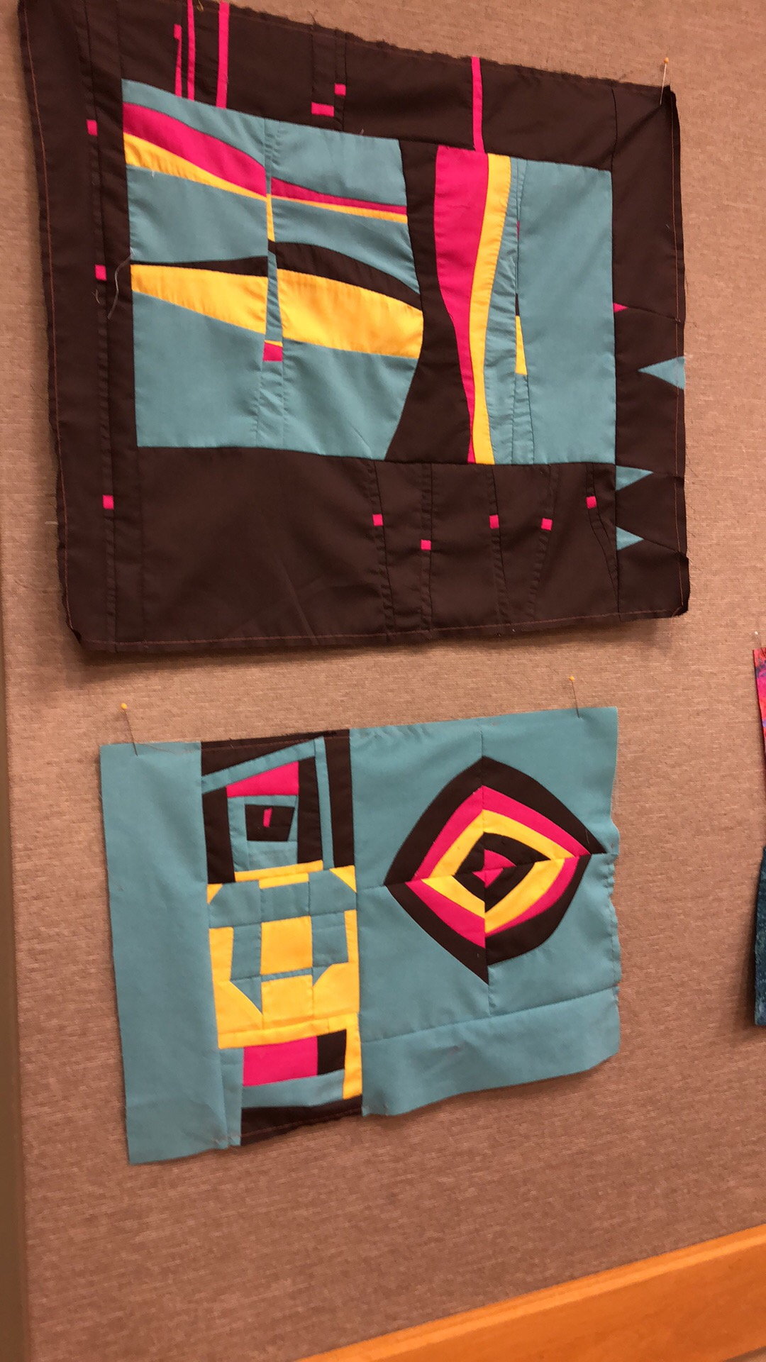 Compositions created during a recent workshop on intuitive piecing