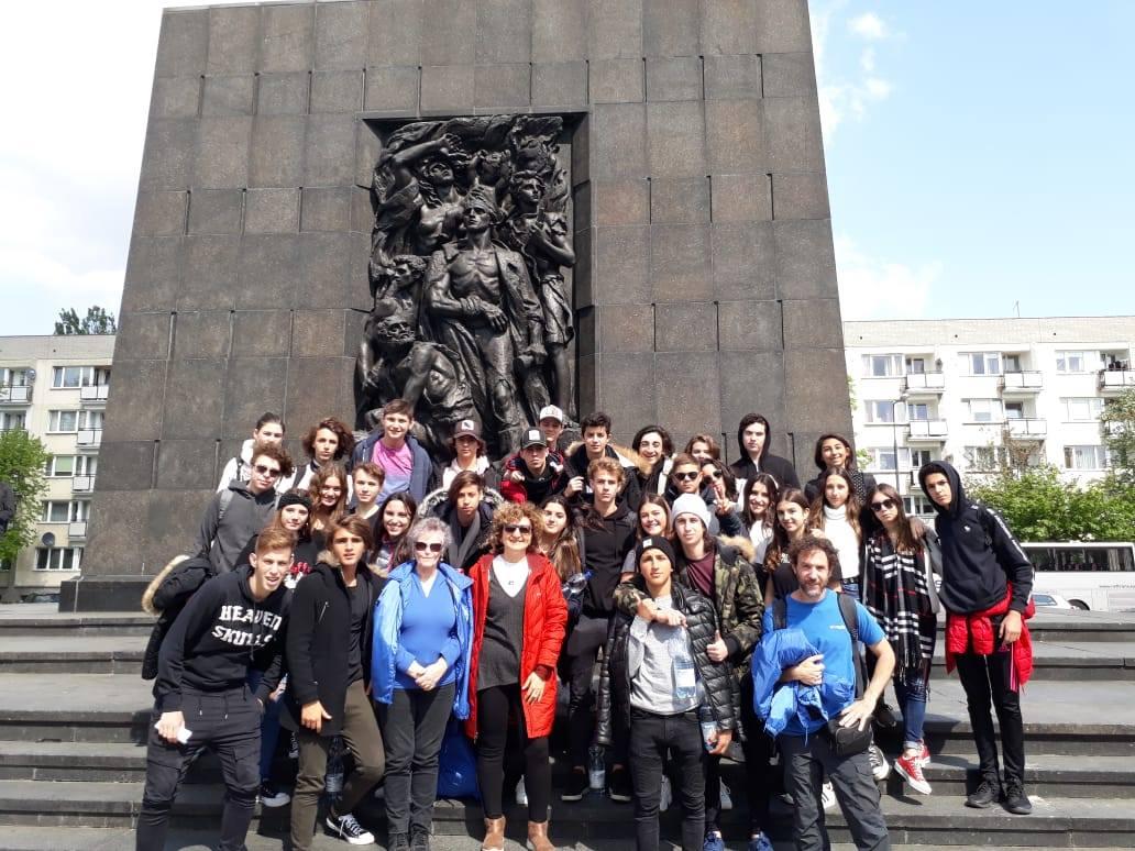 Monumento de Rapaport a los héroes del gueto, frente a la entrada del Museo Polin