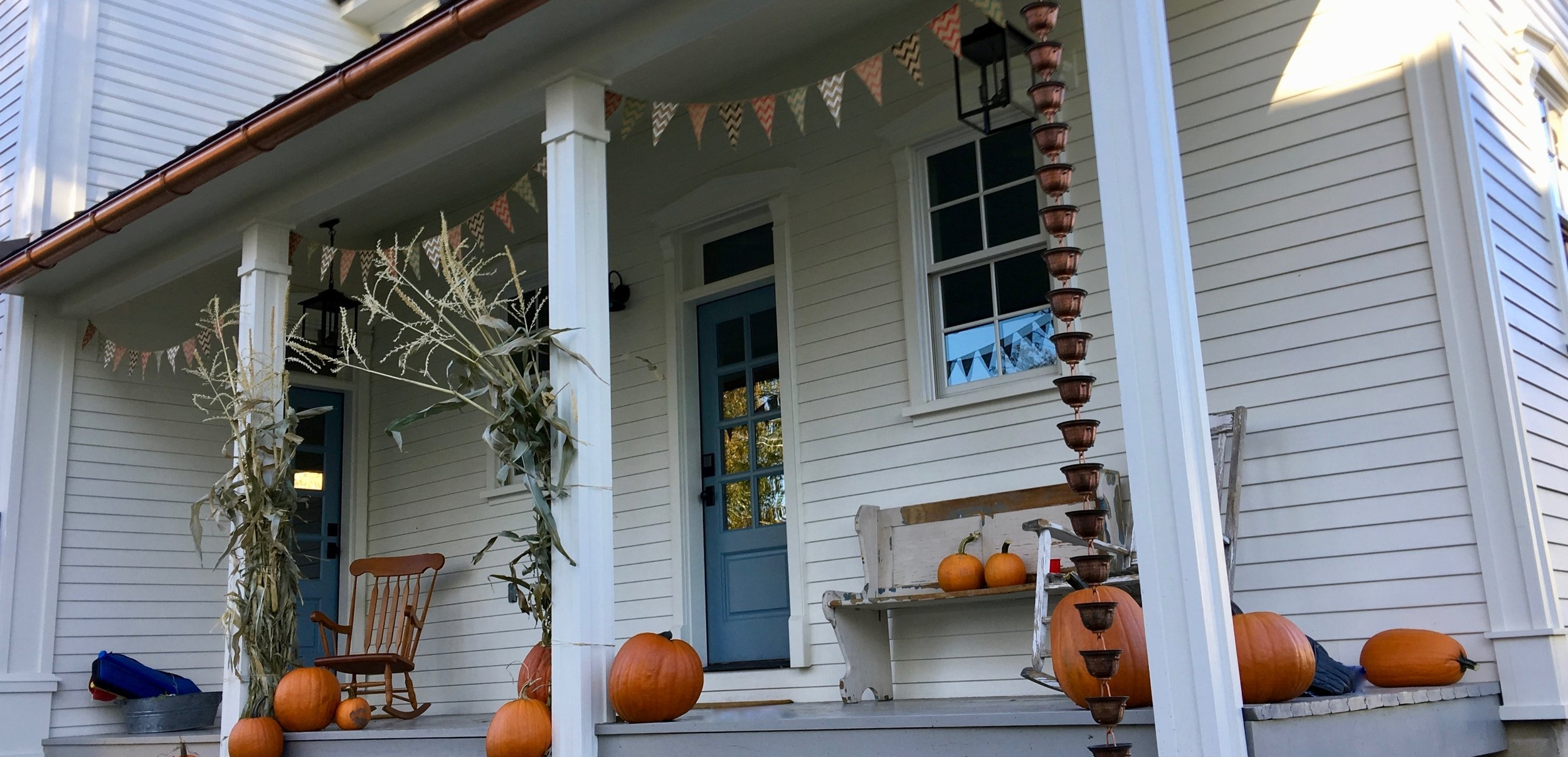 Fall decorations on the porch
