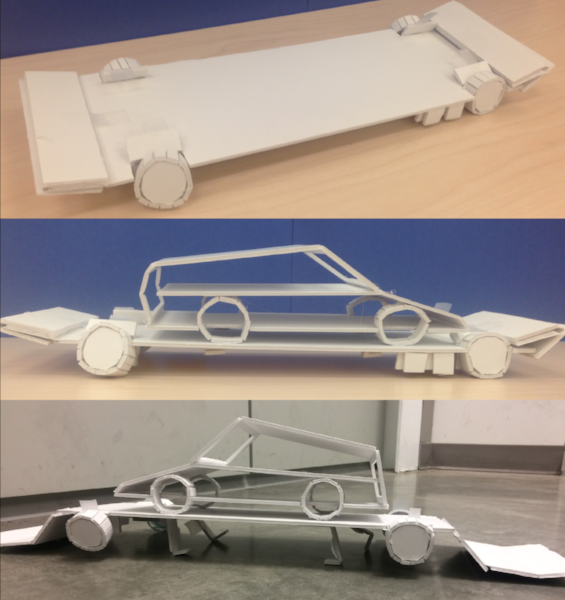 Foamcore 1 - we began to build more detailed prototypes using foamcore. These demonstrated actual mechanisms — such as two-degree-of-freedom suspension arms, the loading process, and the battery pack — and the platform's form factor.