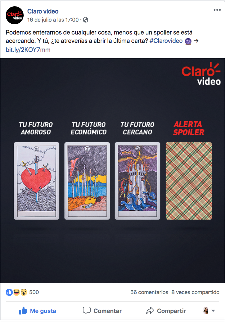 We used the concept of a Tarot card reading to show that a spoiler is the worst thing that could happen to you by showing different negative cards open and the spoiler one closed.                                                           Copy: Anything is better than a spoiler. Would you dare to open the last card?. -
