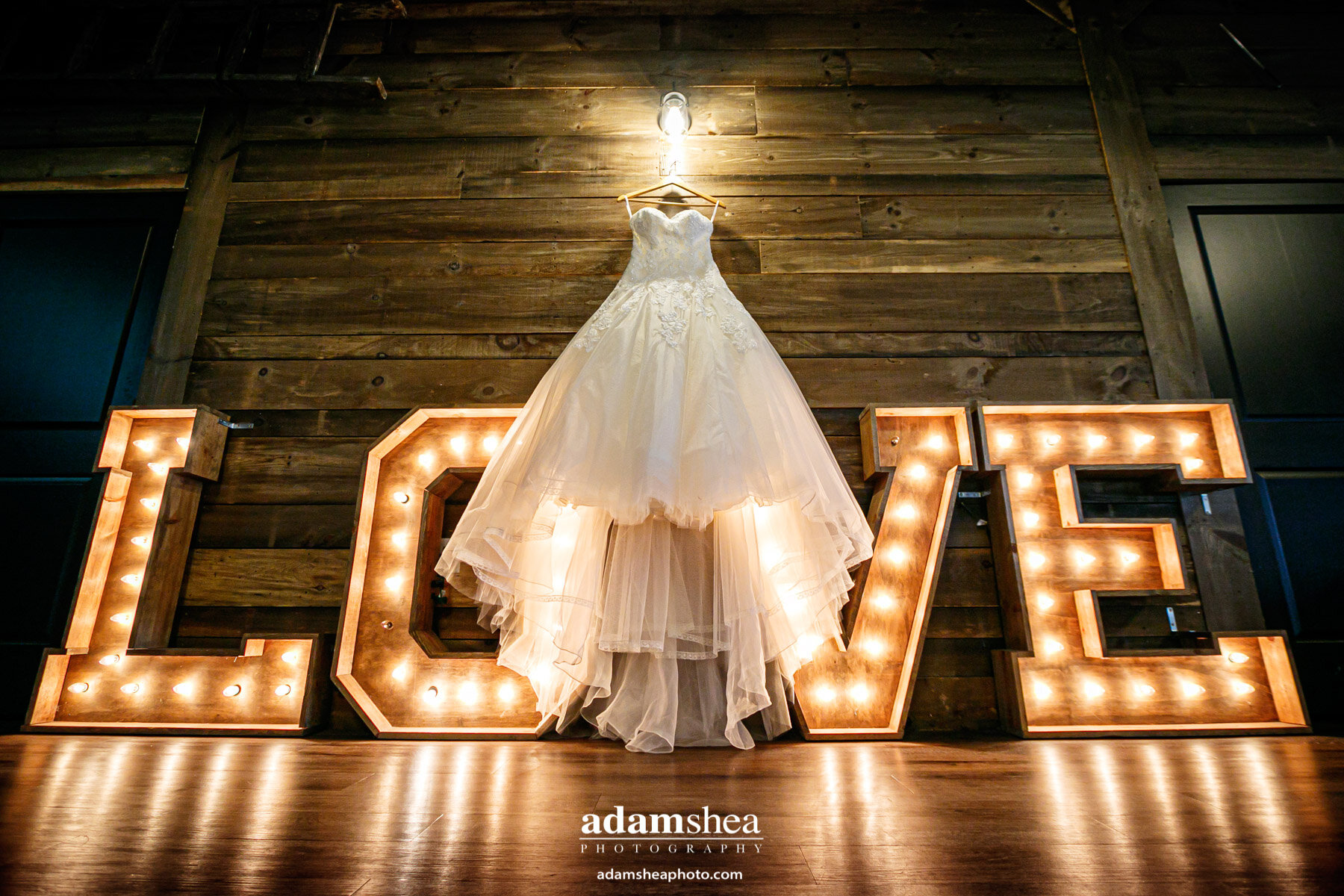 Gorgeous Wedding Fields at the Reserve - Stoughton WI - Adam Shea Photography - LOVE Sign and Wedding Dress