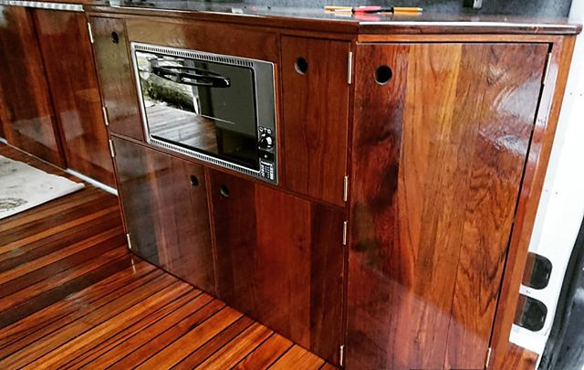 Nearly finished ☺  Reclaimed teak sourced from ex lab worktops used for campervan interior.  #teak #reclaimedteak #reclaimed #reclaimedmaterials #reclaimedwood #camperrenovation  #campervan #camper #yachtinterior #yacht #motorhome