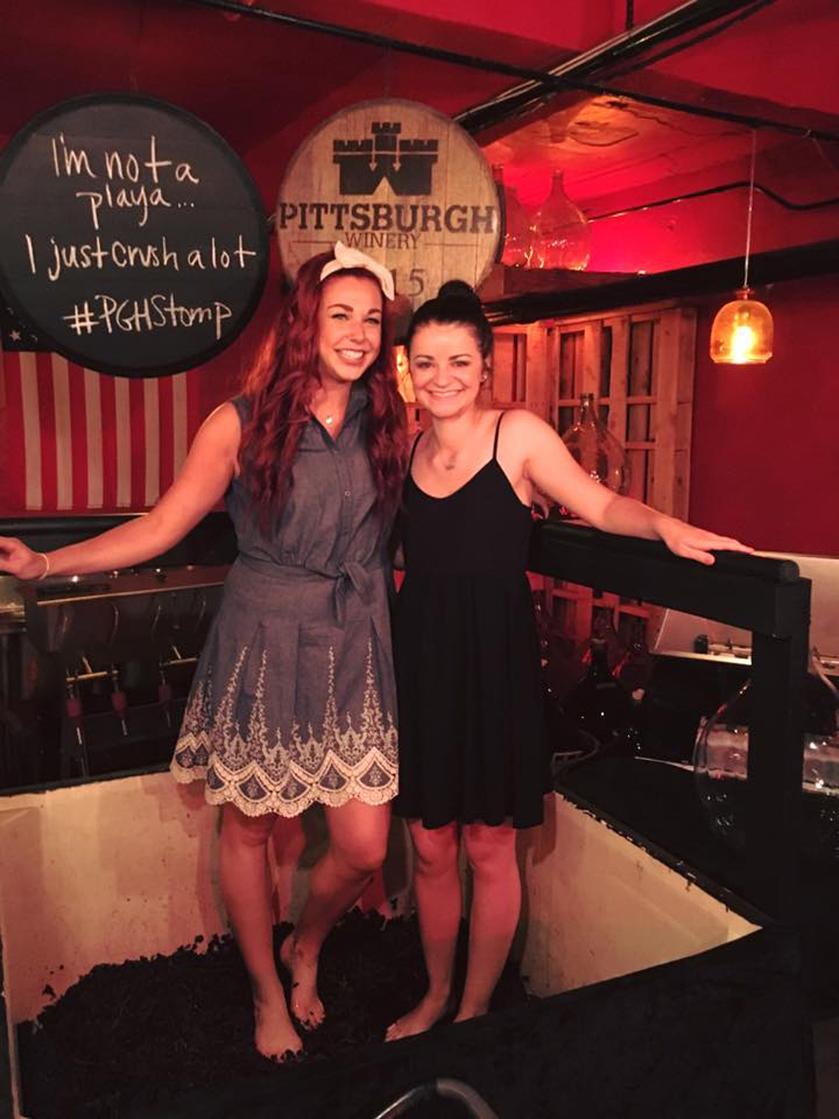 We don't actually use our feet to stomp the grapes but we do if for fun sometimes. Rachel Travisano and Katie Sayers will be happy to guide a tasting for you in our tasting room or cellar.