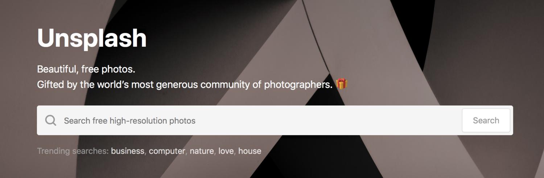 La page d'accueil de Unsplash.