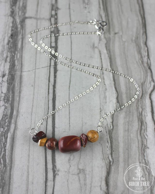 NEW ARRIVAL ON THE WEBSITE! This beautiful silver necklace featuring natural leopard skin and mookaite jasper gemstones is currently available. I love the warm, rich, autumn colors of this piece and I am sure you will too. Be sure to check it out! . . . Item No. 3783 for $30 . . . Click the link on my profile to see more of my handcrafted jewelry and other gems.