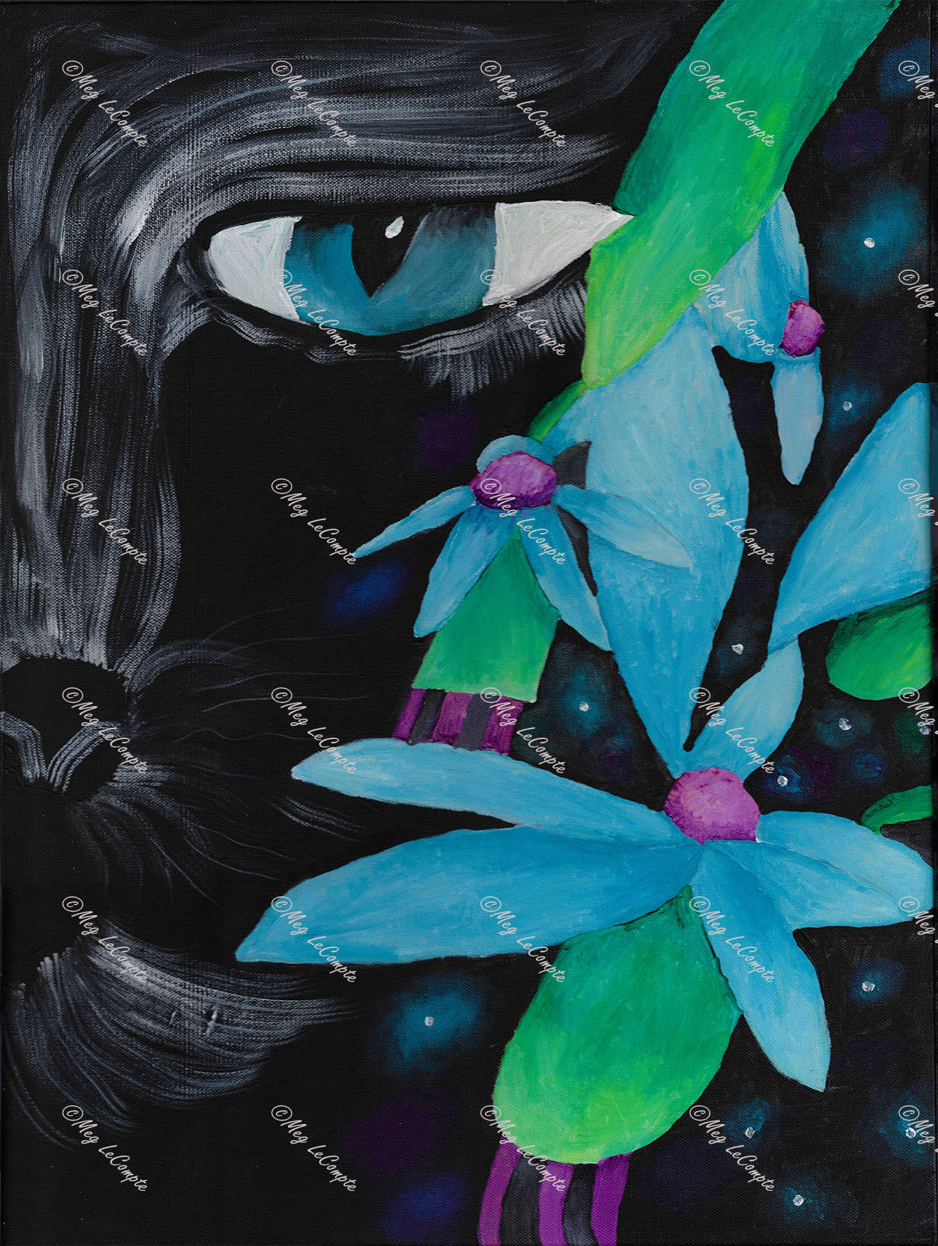 The Black Cat in the Flower with the Fireflies