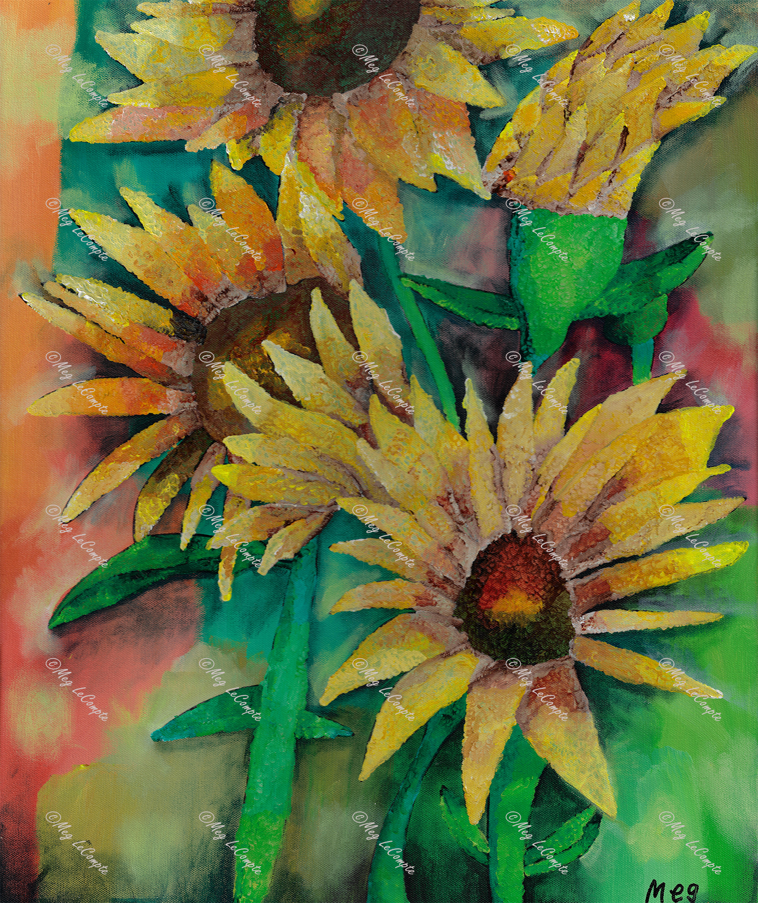Yellow Sunflowers with Green Stems