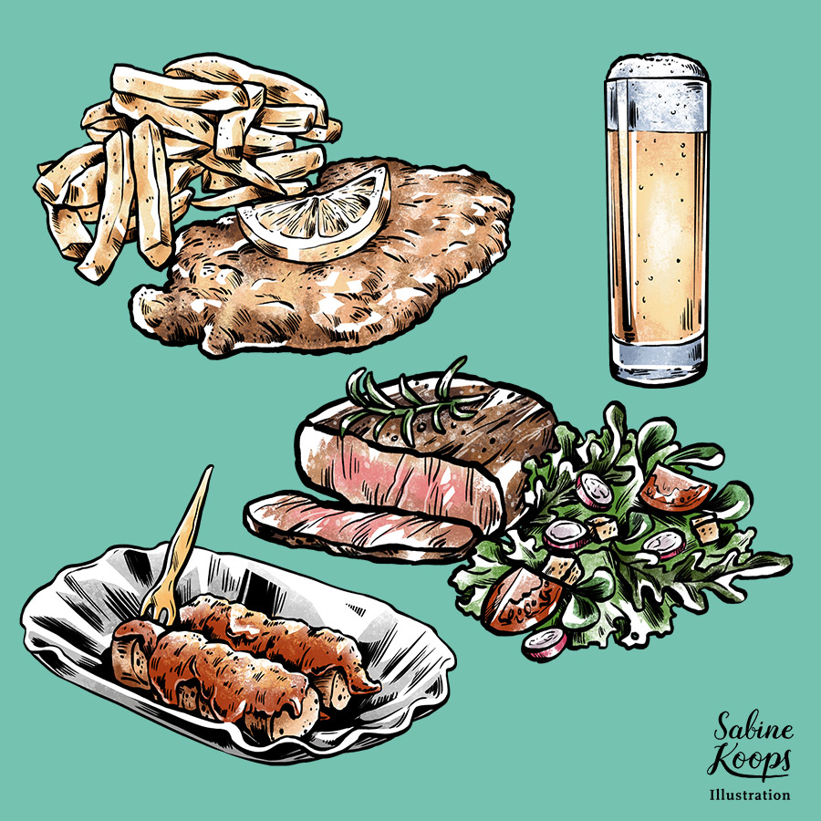 Sabine_Koops_Illustration_Illustrator_Werbung_advertising_1_Essen_food_Fleisch_meat_Schnitzel_Ernaehrung_Salat_Currywurst_Sausage_junkfood.jpg