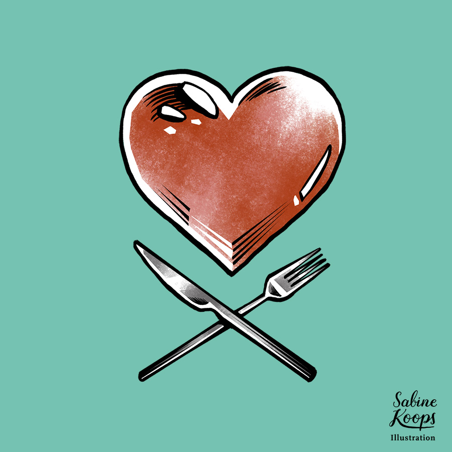 Sabine_Koops_Illustration_Illustrator_Werbung_advertising_1_Food_love_Essen_Besteck_Herz_Tattoo_Ernaehrung.jpg