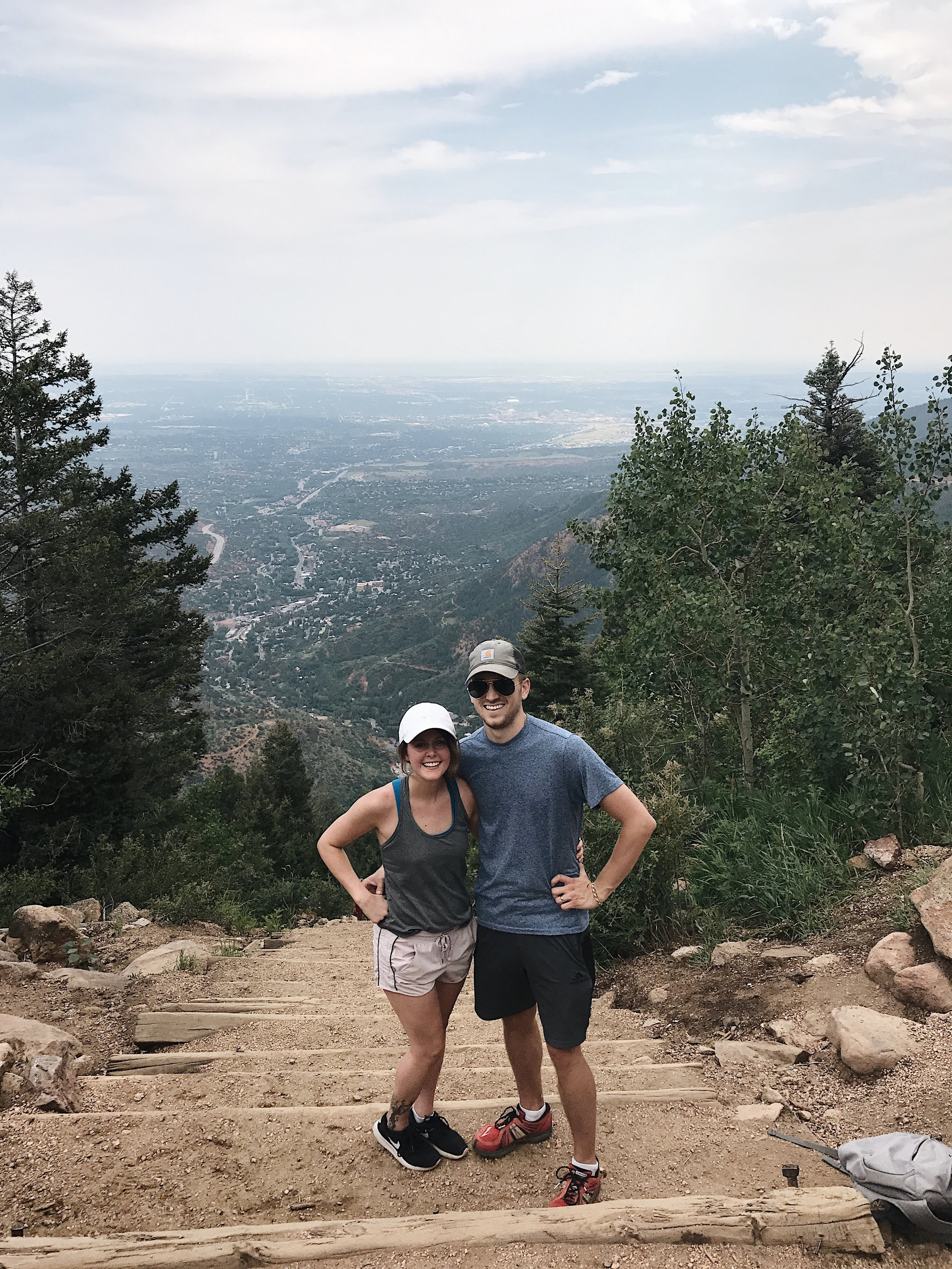 At the top of the incline.