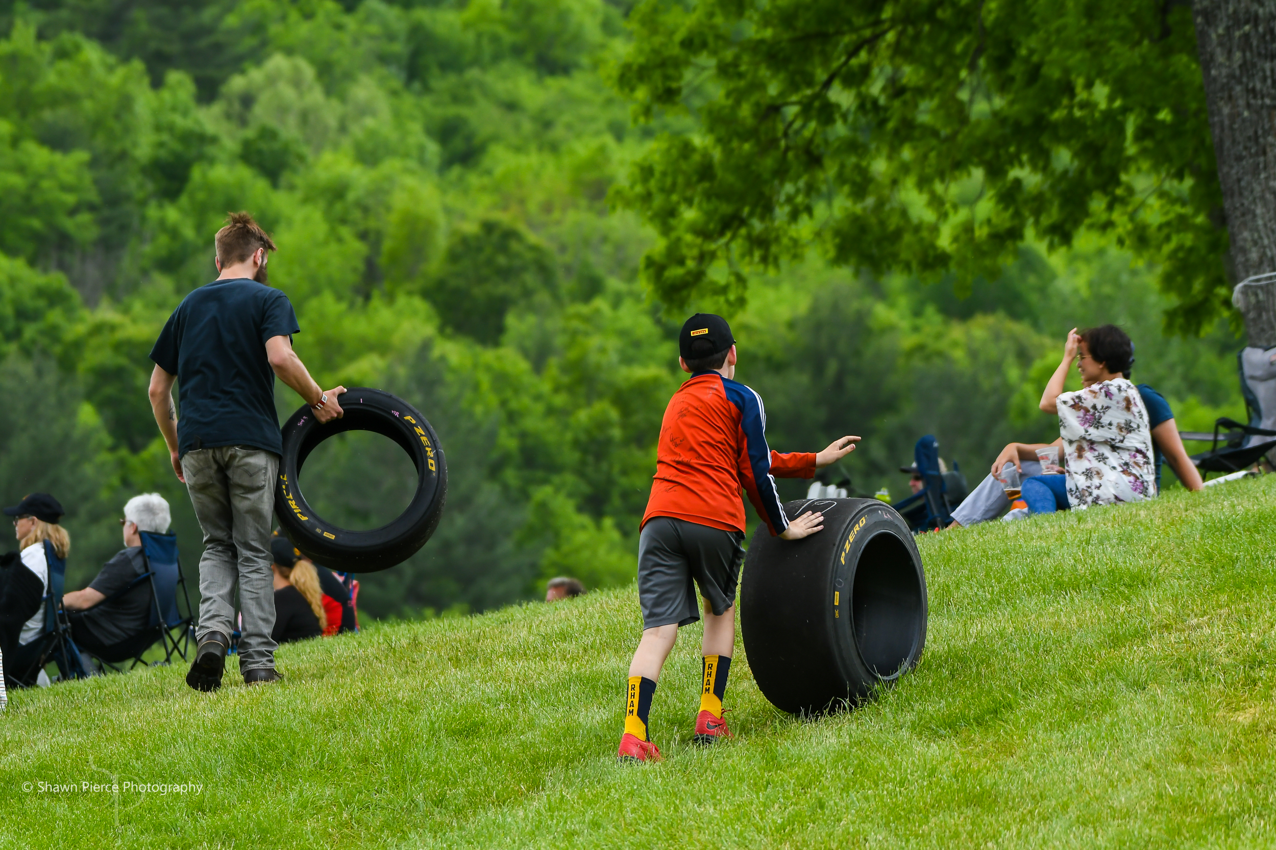 Pirelli gave away a lot of the used tires from the weekend.