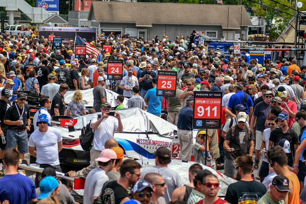 The huge IMSA crowd looking left...