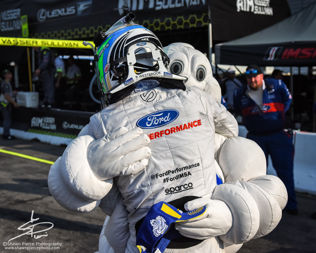 Richard Westbrook In the loving arms of the Michelin Man.