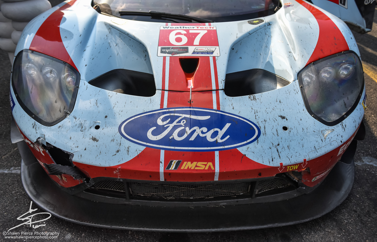 Battle damage on the nose of the race winning Ford GT.