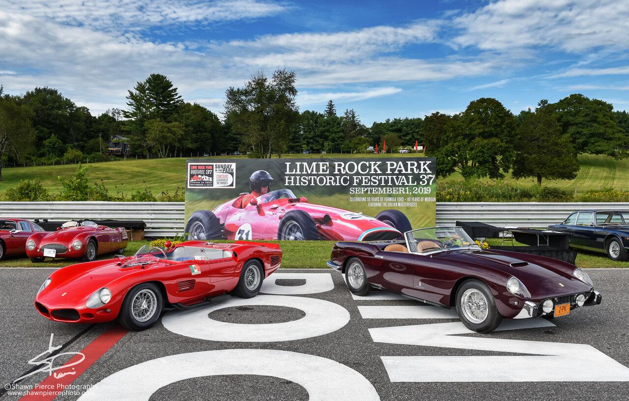 Best in Show winners of the Sunday in the Park Concourse d'elegance.  Sport: Ralph Lauren's 1961 Ferrari 250 Testa Rossa (left) Touring: Peter Kalikow's 1958 Ferrari 250 GT PF Cabriolet (right)