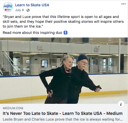 Learn To Skate USA Blog Post - July 9, 2019Reach 8k+/ Social Media Engagement 700+Leslie and Charles are my new friends who skate at the Codey Arena rink in West Orange, NJ where I also train. I was so impressed with their earnest desire and unequivocal commitment to figure skating that I wanted others to learn about their story. Leslie and Charles are two inspiring individuals who we all can admire - they follow their passions and show us that age isn't a limit.