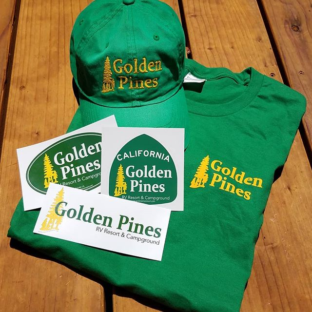 Guys, we've got stickers! Our #GoldenPinesRV swag has arrived and we couldn't be more excited! Look for our green shirts and hats around the park to know who's on duty, then stop by our front office to grab a sticker of your own to decorate your rig, water bottle, or that Trapper Keeper you just can't let go of. . . Thanks to @gatewaypress in Murphys for their amazing work!