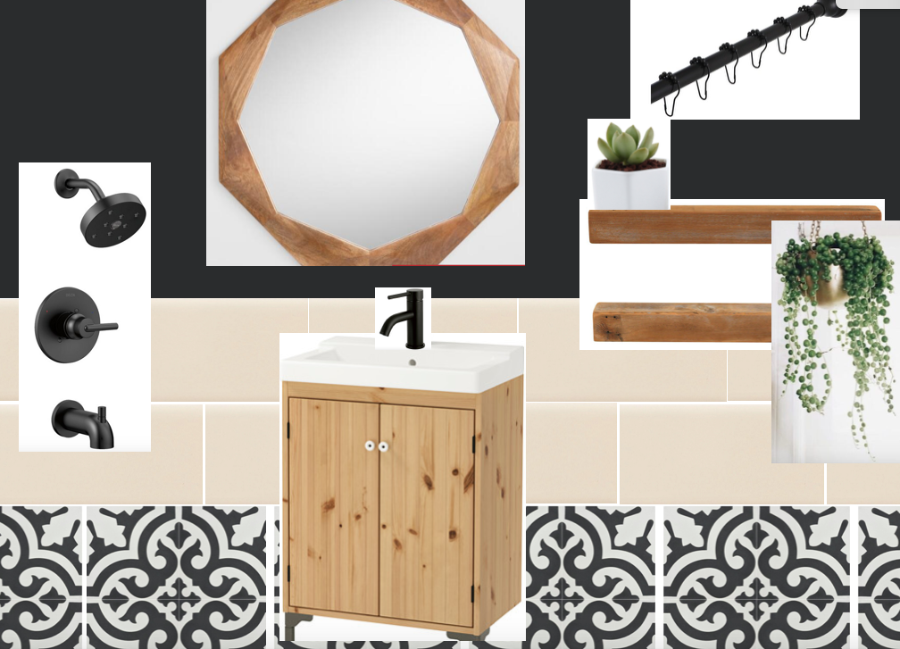 OPTION #1: MAROCCAN TILES (EQUAL AMOUNT OF BLACK & WHITE) & BLACK WALL
