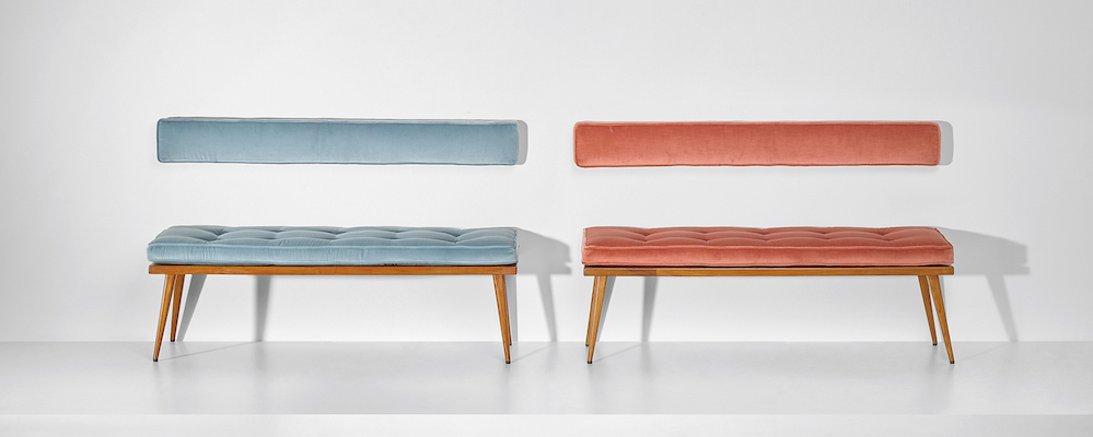 Pair of benches by Ico Parisi (ca. 1950), fabric, oak-veneered wood, oak, painted wood. Est. GBP 8-12,000.