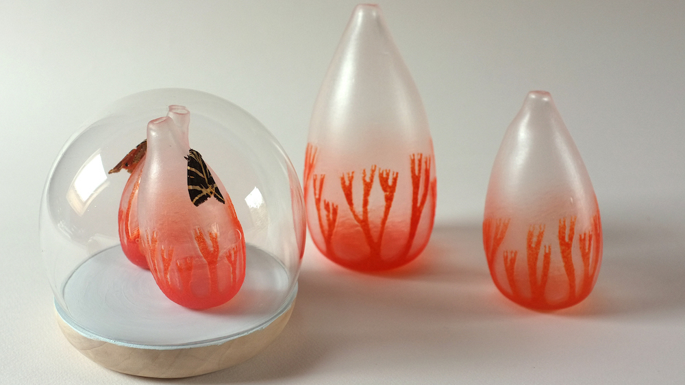Nathalie Massenet Dollfus: 2 Butterflies, handblown glass © Nathalie Massenet Dollfus