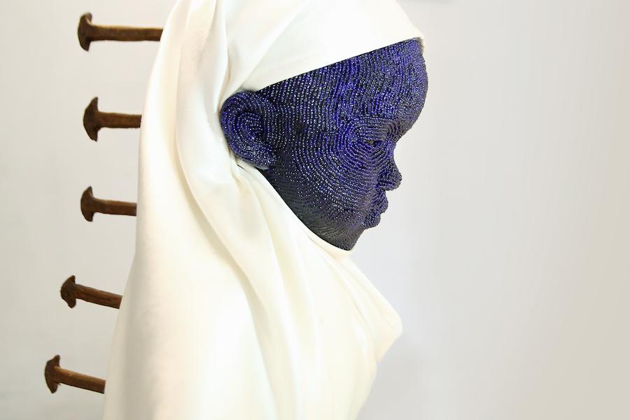 Cameroun_Beya Gille Gacha GILLE GACHA- orant_ 2017, pearls embellisched sculpture_600.jpg