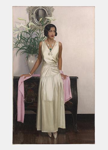 Maharani of Indore, evening dress, Bernard Boutet de Monvel, 1933-1934