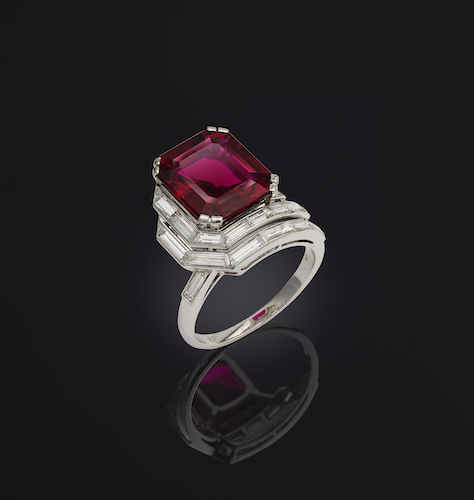 Platinum Ruby Diamonds Ring by Mauboussin, 1940