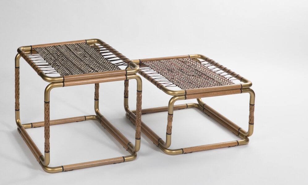 Oak wood, gold powder coated mild steel, woven palm fonds and camel leather. 50 (L) x 50 (W) x 35 (H) cm & 50 (L) x 50 (W) x 50 (H) cm. Limited edition of 10 pieces (5 per size).