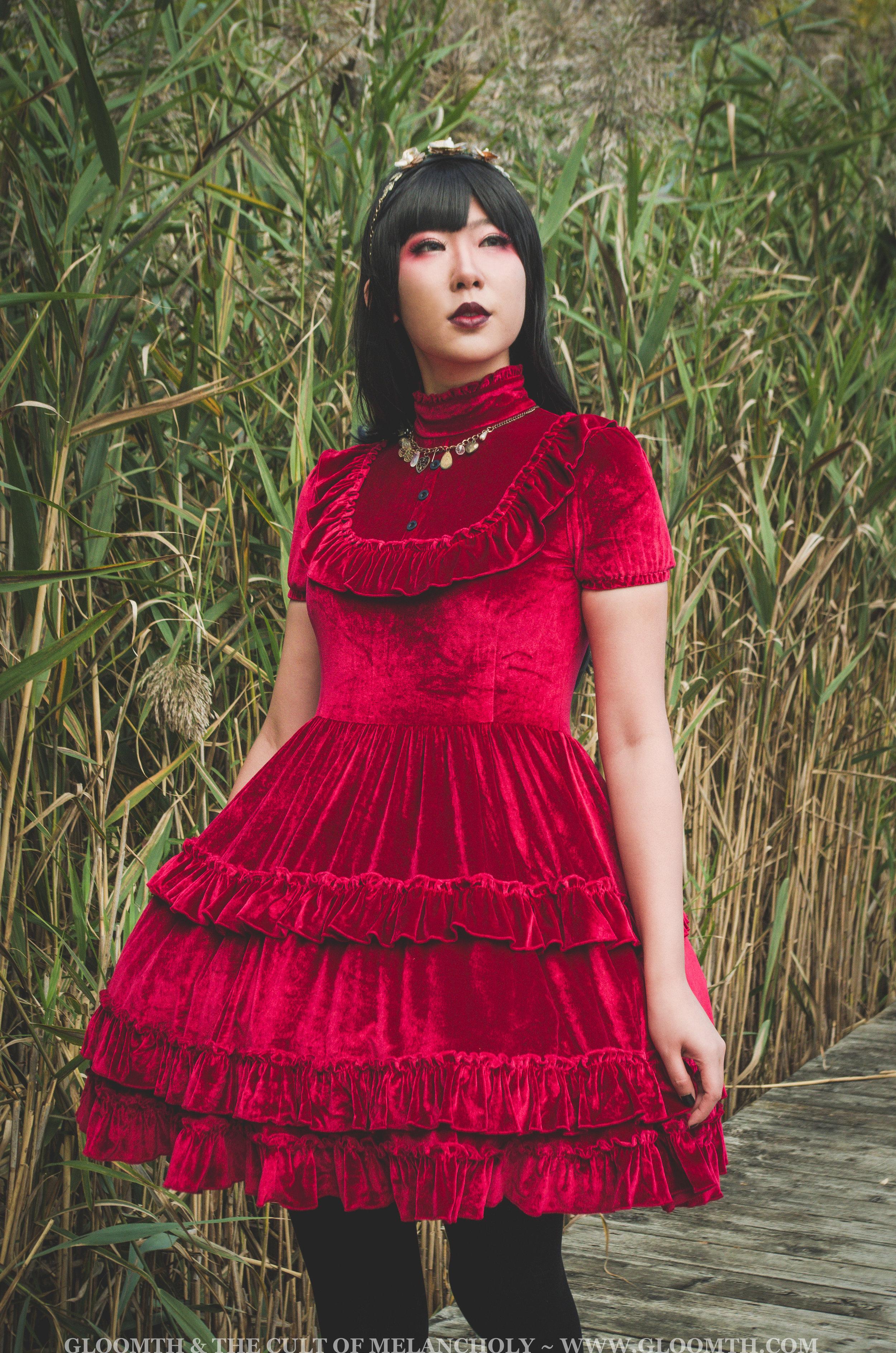 gothic lolita red velvet tea party dress