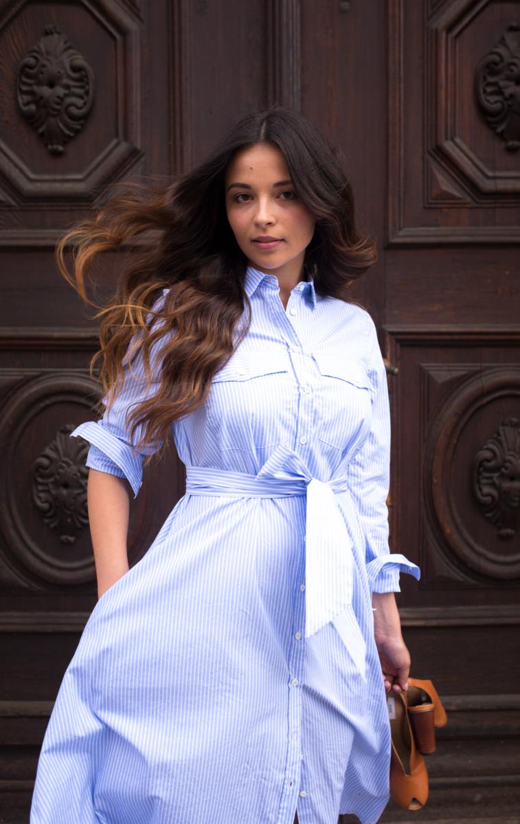 Extraordinary blue stripes shirt dress