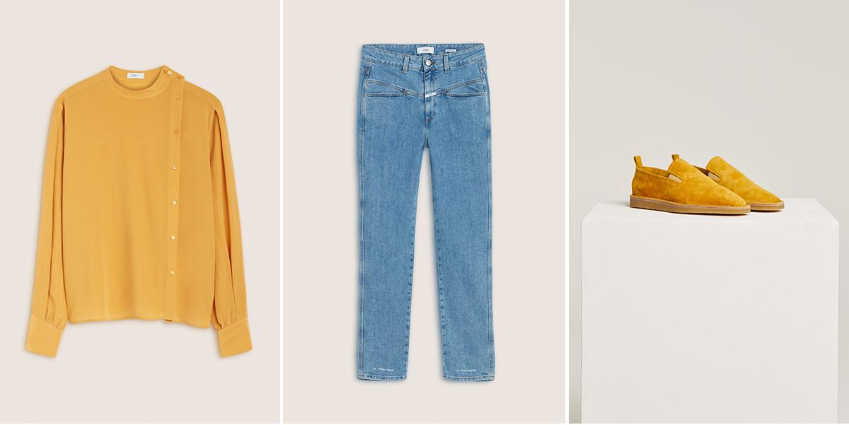 Rumena srajca: CLOSED / Svetle kvabojke: CLOSED / Semiš rumeni čevlji: CLOSED