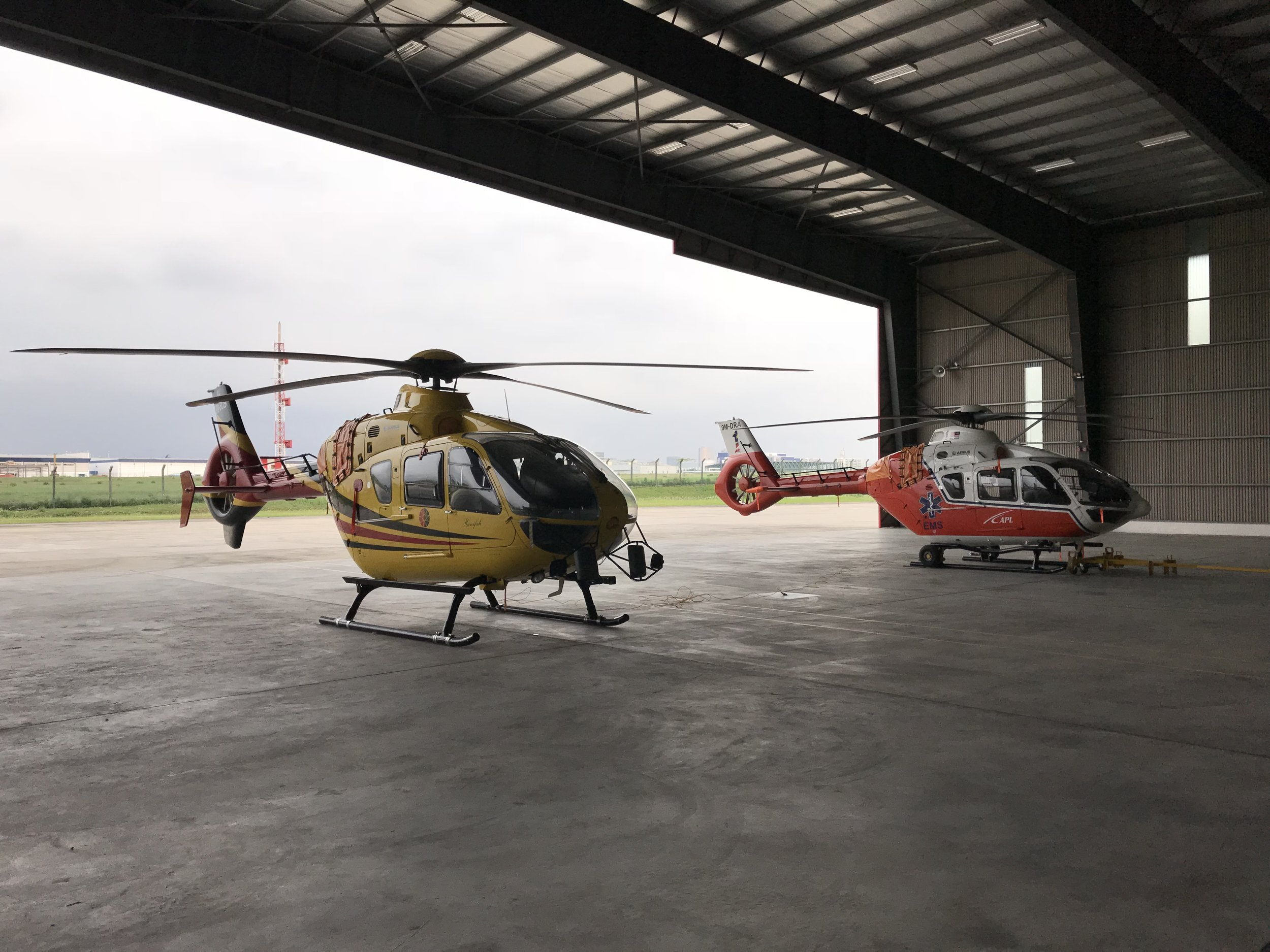 EC 135 P3 and EC 135 T2 docking at hangar