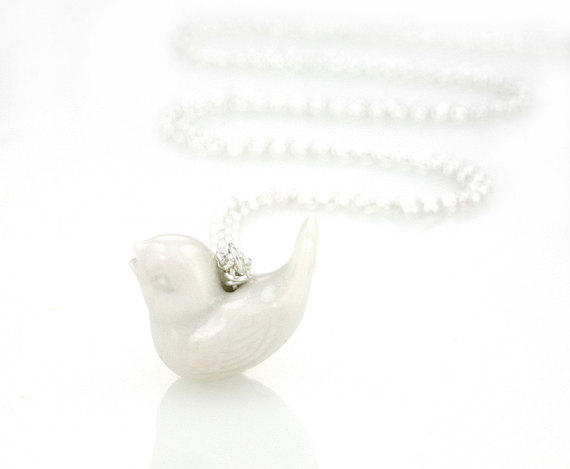 Tiny Birdie Necklace  2 cm wide glazed porcelain bird on a 55 cm long silver chain.